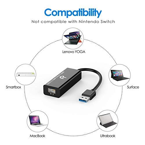 Rankie USB Netzwerkadapter, USB 3,0 zu RJ45 10 100 1000 Gigabit Ethernet Netzwerk Konverter, Schwarz