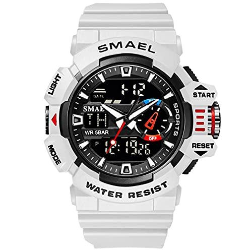 SMAEL Relojes Deportivos para Hombre Resistente Al Agua Digital Militares Relojes Multifuncional Militar Reloj para Hombre,Blanco