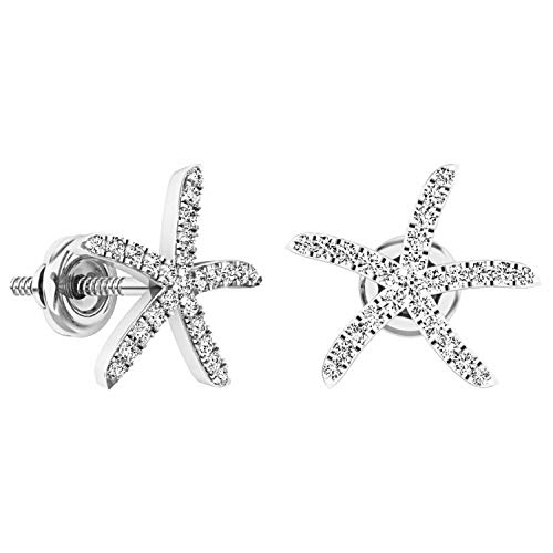 Dazzlingrock Collection 0.25 Carat (ctw) Round White Diamond Ladies Starfish Earrings 1/4 CT, 14K White Gold