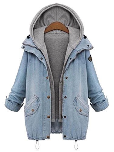 Milumia Women's Hooded Drawstring Boyfriend Trends Jean Swish Pockets Two Piece Coat Jacket Blue Large