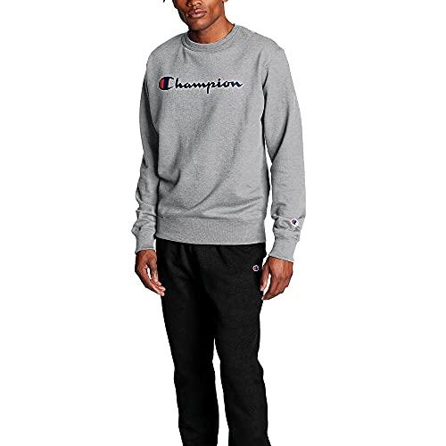 Champion Camiseta masculina de flanela com estampa gráfica Powerblend, Oxford Grey/Champion Script, Small