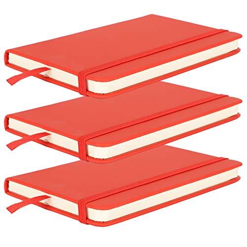 Alvinlite Bloc de Notas de Negocios de Cuaderno de Cuero Artificial de la PU con Marcador de Cinta 3 Piezas(Rojo)
