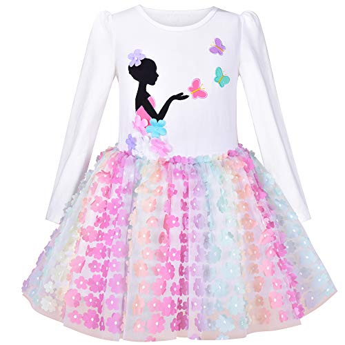 Vestido para niña Tutu Falda Arco Iris Mariposa Bordado Manga Larga 12 años