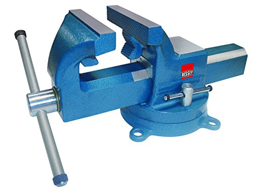 """Bessey BV-DF8SB Swivel Base Bench Vise 8"""" Heavy Duty Bench Vise With Pipe Jaws, Hammer Tone Blue,"""