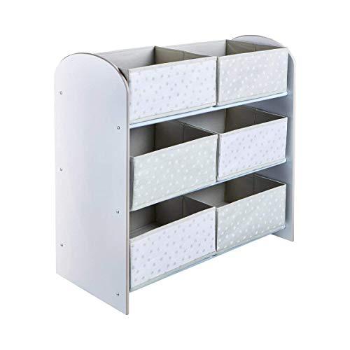 Hello Home 471GWH Unidad de Almacenamiento de Juguetes con Seis Cubos para Dormitorios Infantiles, Tela, Tamaño Aproximado: 60 cm (Altura) x 63.5 cm (Anchura) x 30 cm (Fondo)