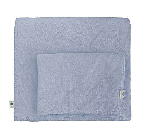 Linen & Cotton Stonewashed Leinen Bettwäsche, Bettwäsche Set Caelum, 100{e97c4bd4008e805504617a5b53155c2b2a5892dd12baa247d06b5c3847272518} Leinen - 140 x 200cm (Single), Blau