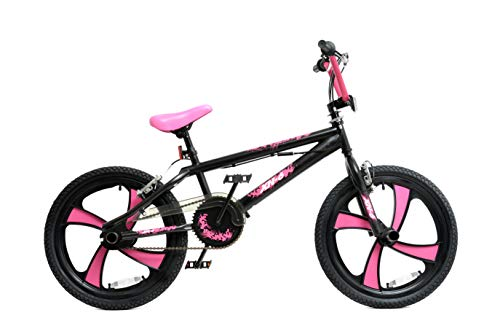 XN 6 BMX 20' 4 Spoke MAG Wheel Freestyle Bike Gyro Stunt Pegs Kids Boys Girls (Black/Pink)
