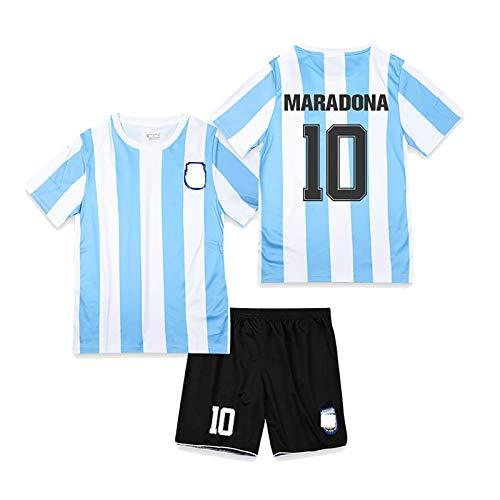 CWWAP Retro 1986 Argentinien Fußballuniform Maradona 10 Fußballtrikot Fußballtrikot-Kits für Unisex Erwachsene Kinder-No.10-24