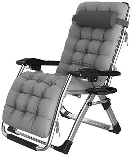 Lhak Sillón reclinable al Aire Libre Relajación Gravedad Cero Silla Plegable Terraza Anti-inclinación de inclinación del sillón Plegable Patio con Almohadilla y la Taza Titular (Color : Grey)
