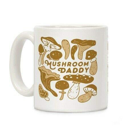 Large Coffee Mugs,11 Ounce Ceramic Cup Mushroom Daddy Fungi Mushroom Lover Daddy White Mug, Coffee Mugs for Women/Men