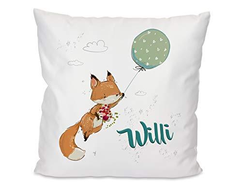 Kissen mit Name Fuchs Junge, Kuschelkissen, Luftballon, Geschenkidee für Kinder, Namenskissen, Geschenkidee Geburtstag, Weihnachten, Ostern für Mädchen und Jungs