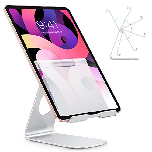 Tablet Stand Holder Adjustable, OMOTON iPad Stand, Desktop Aluminum Tablet Dock Stand for iPad Air 4/ Mini 5, New iPad 10.2/9.7, iPad Pro 11/12.9, Samsung Tablet, Nintendo, E-Reader and More, Silver