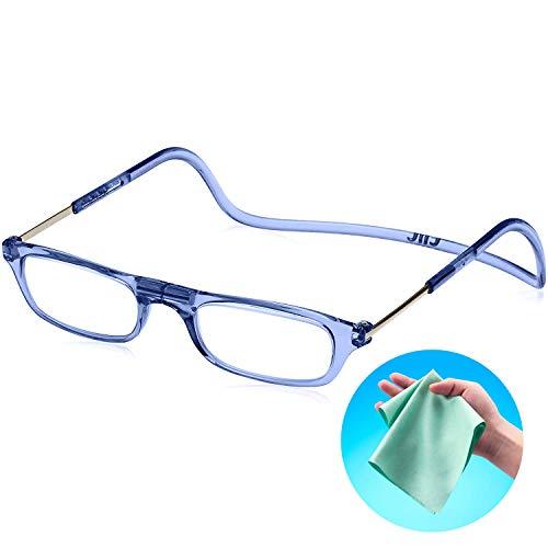 Clic Readers (クリックリーダー) リーディンググラス 老眼鏡 + 東レ トレシー クリーニングクロス セット (ブルー,+3.50)