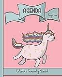 Agenda perpetua. Calendario Semanal y Mensual: Unicornio bonito con arcoiris. Tapa blanda. Libreta escolar para niñas. Regalo molón. 12 meses Anual ... valentín, día de los enamorados, Sant Jordi.