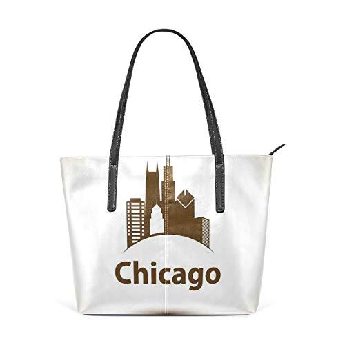 NR Multicolour Fashion Damen Handtaschen Schulterbeutel Umhängetaschen Damentaschen,USA-Stadt altmodisch städtisch im Erde getonten Retro Plakat-Design