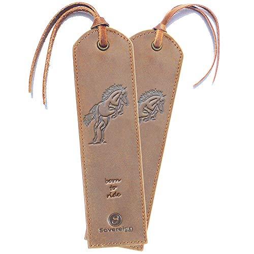 Segnalibro in pelle Horse fatto a mano - Confezione da 2 segnalibri in vera pelle per donna e uomo con un esclusivo design Cavallo - Regalo perfetto per topi di biblioteca e lettori