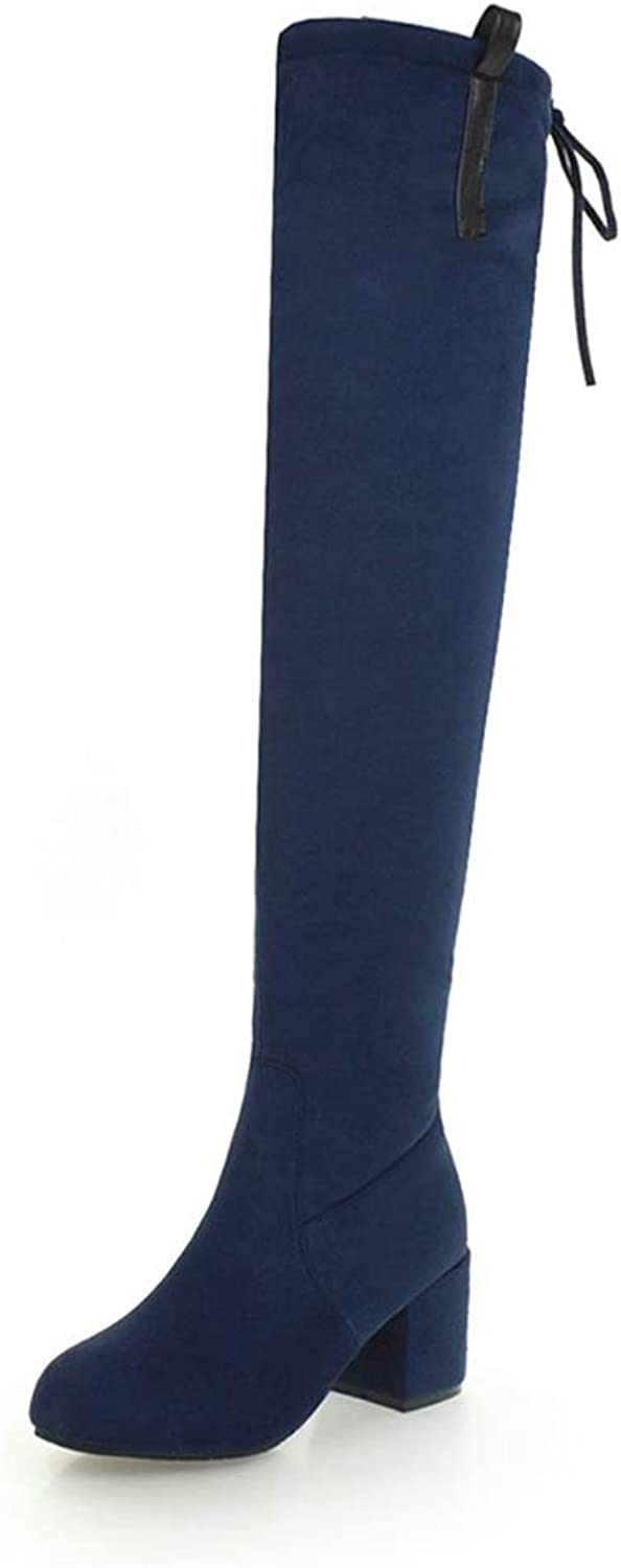 T-JULY Sexy Over The Knee Thigh High Boots for Women Flock Slip-on High Heels shoes Autumn Plus Size 33-48