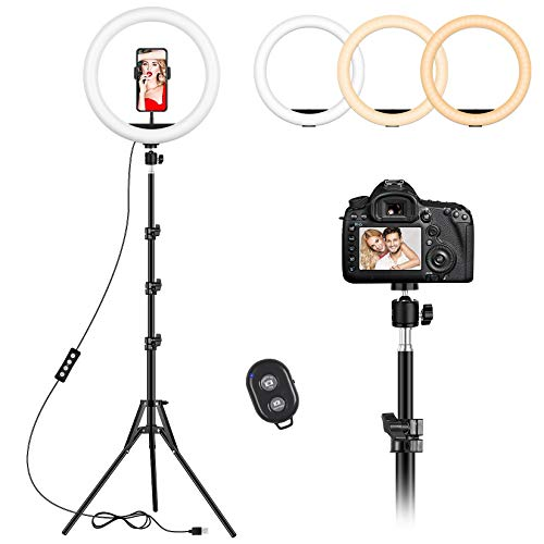 12 inch Ring Light with 59'' Extendable Tripod Stand and Phone Holder, Selfie LED Circle Light with Remote Shutter for iPhone, TikTok YouTube Video Shooting, Live Streaming, Camera, Zoom Meeting