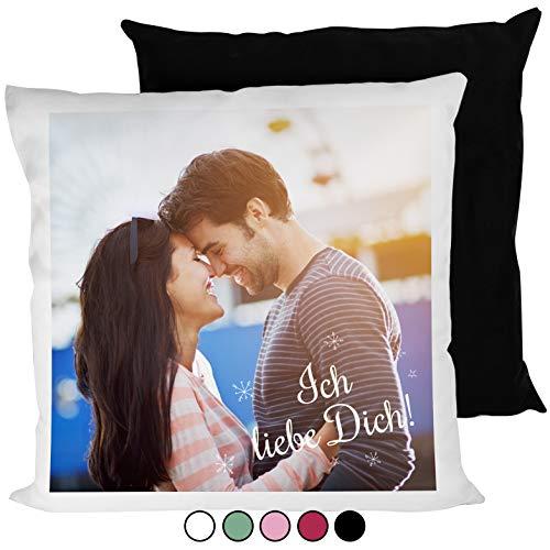 Personello® Kissen mit Foto (40x40), Wunschfoto auf Vorderseite Bedruckt, Rückseite schwarz, mit Füllung, Fotogeschenk