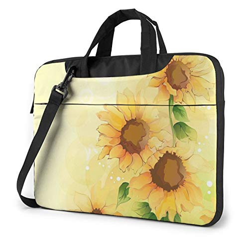 Laptop Shoulder Bag - Sunflower Printed Shockproof Waterproof Laptop Shoulder Backpack Bag Briefcase 13 Inch