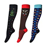 sigando Damen 3 Paar Lustige Bunte Kniestrümpfe Warm Muster Süsse Klassisch Gemusterte Socken (WWZ-8)