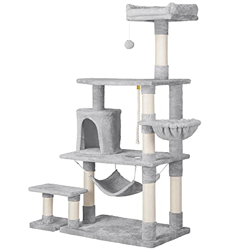 Yaheetech 62in Multi-Level Cat Tree Tower Condo with Scratching Posts, Removable Platform & Hammock, Cat Activity Center Play Furniture for Kittens, Cats, and Pets