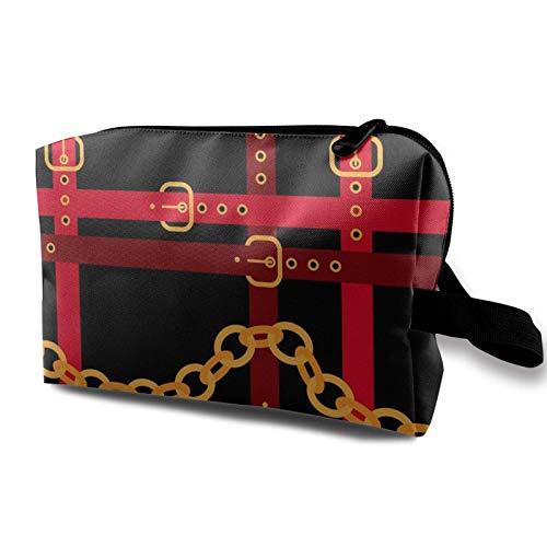 Hdadwy Goldene Ketten mit roten Gürteln auf einem schwarzen, für Familien geeigneten, tragbaren Reisetasche mit Einer Größe von 4,9 'x 6,3' x 10,0 '