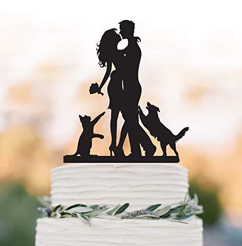 DKISEE Bruiloft Taart Topper met Hond en Kat, Hond Springen Groom Silhouette Bruid en Groom, Unieke Bruiloft Taart Topper met Maltese Hond en Kat, 5-6