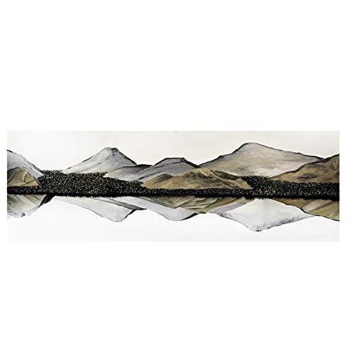 agwKE2 Blanco y Negro Natural Paisaje de montaña Carteles Imágenes para la Sala de Estar Junto a la Cama Sofá Fondo Decoración Arte de la Pared Pintura Arte de la Pared 40x120cmx1 Sin Marco