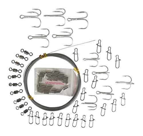 SANDAFishing 10m Stahlvorfachset mit 50 Hülsen Angel Stahlvorfach 7x7 geschmeidig Hecht aus bestem Stahlvorfachmaterial Raubfisch Angeln Zubehör Set (13,6KG Set+Wirbel+Einhänger+10 Drillinge)