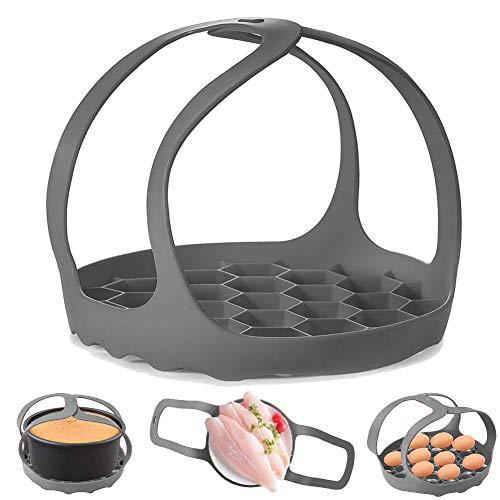 Schnellkochtopfschleife aus Silikon, für 6 Qt / 8 Qt Instant-Topf Ninja Foodi und Multifunktionskessel, Verbrühschutz-Backgeschirrheber, Dampfgarer, BPA-freier Silikon-Eier-Dampfgarer (grau)