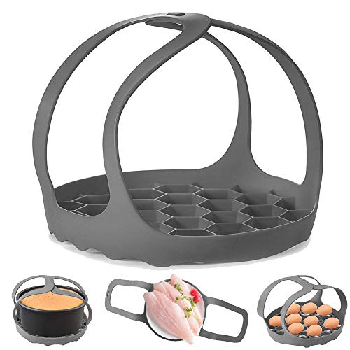 Pressure Cooker Sling, Silicone Bakeware Sling for 3Qt Instant Pot, Multi-function Cooker Anti-scalding Bakeware Lifter Steamer Rack,BPA-Free Silicone Egg Steamer Rack (Gray)