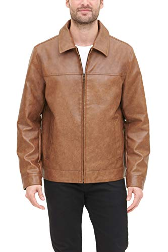Tommy Hilfiger Men's Classic Faux Leather Laydown Collar Jacket, Vintage Brown, Large