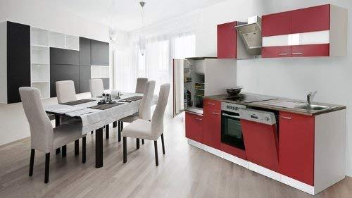 respekta Küchenzeile Einbauküche Küche Küchenblock 280 cm weiß rot Schräghaube ceran KB 280 WRSC