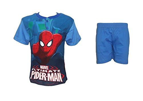 Pigiama Bimbo Corto Puro Cotone Mezza Manica Spiderman Marvel Art. 34115 (3 Anni, Celeste)