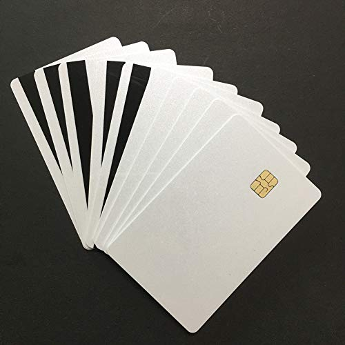 SLE4442 Chip Pearl White Cards with Hi-Co Magnetic Stripe PVC Blank Card (SLE4442 with 2Track Magstripe Card -50pcs)