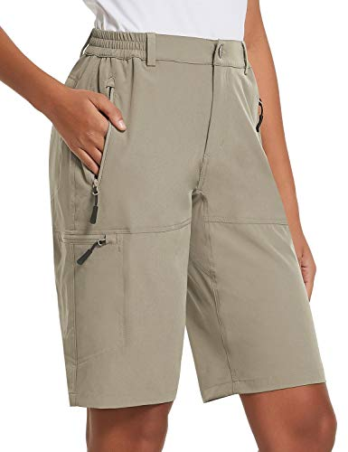 BALEAF Women's 10 Inches Quick Dry Stretch Hiking Cargo Shorts with Zippered Pockets UPF 50+ for Camping, Travel Khaki Size M
