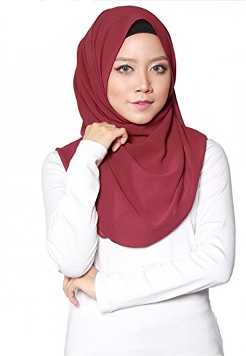 SAFIYA - Hijab Kopftuch für muslimische Frauen I Islamische Kopfbedeckung 75 x 180 cm I Damen Gesichtsschleier, Schal, Pashmina, Turban I Musselin/Chiffon - Bordeaux