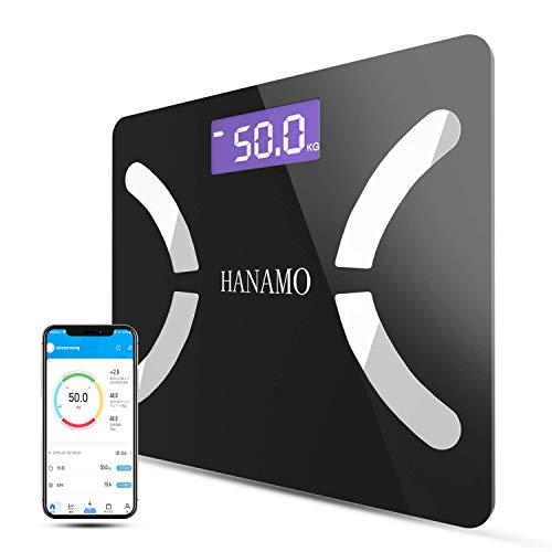 HANAMO 体重計 体脂肪 体重・体組成計 bluetooth スマホ対応 体重計 USB充電式ボディスケール 高精度スマートスケール 体重/BMI/脂肪率/筋肉/水比記録/内蔵脂肪/骨量/基礎代謝測定可能
