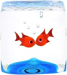 GlassOfVenice Cubo de Acuario de Cristal de Murano con Goldfish