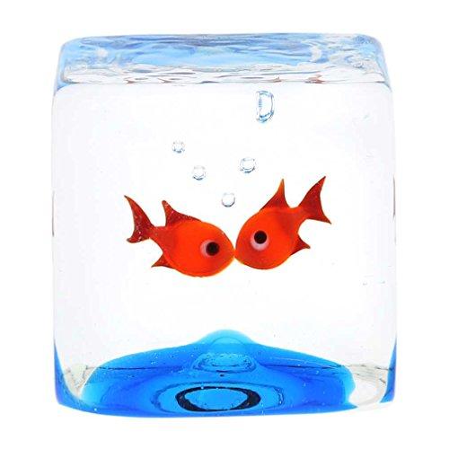 Murano Glas Aquarium Würfel mit zwei Goldfischen - 1-1/4 Zoll