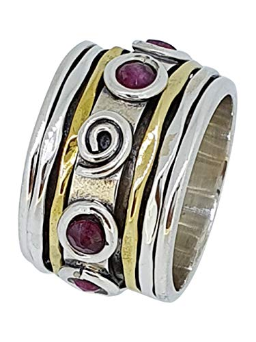TreasureBay 925 Sterling Silver and Gold Plate Wide Spinning Ring with Twist for Women and Girls
