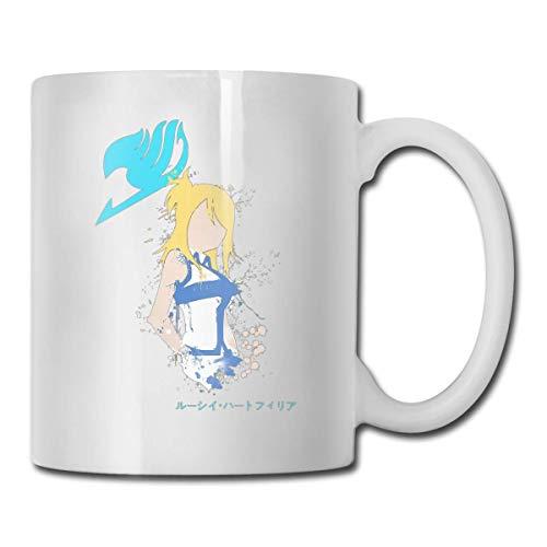 Fairy Tail Lucy Heartfilia Celestial Spirit Taza de cerámica divertida Taza de café blanca 11 oz