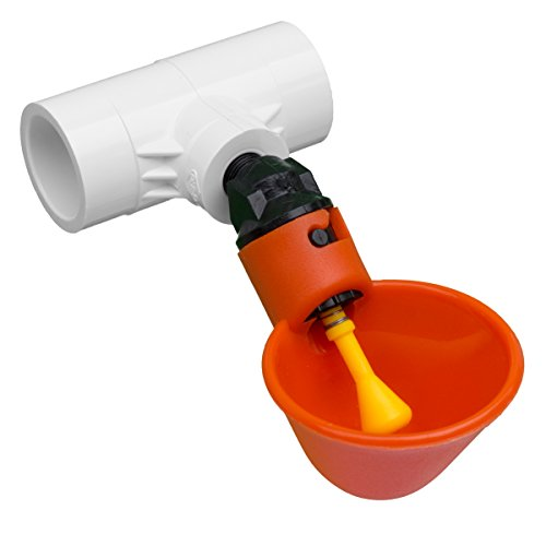 Drinker Cups with Tee Fittings for Beaktime Automatic Poultry Watering System (5 Cups / 5 Fittings)