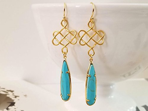 Celtic Statement Gold Earrings, Turquoise Drop Earrings, gemstone, bridesmaid gifts, Statement Jewelry
