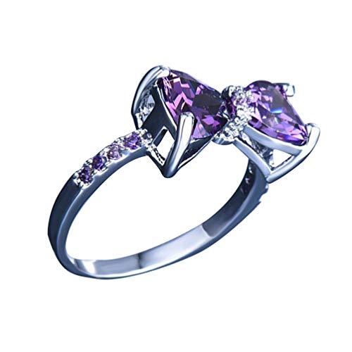 Happyyami Anelli di Prua Anello di Promessa Nodo Damore Viola Zirconi Strass Gioielli con Diamanti Regali per Anniversario Matrimonio Ragazze Donne (N. 5)