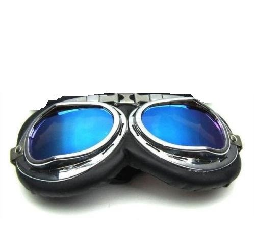 Motorbril voor motorfiets, scooter, USTOM Vintage, met verchroomde glazen, blauwe spiegel Harley Davidson