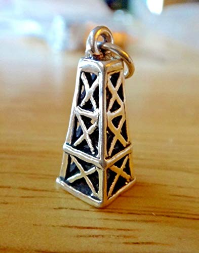 Sterling Silver 3D 19x8mm Old Style Oil Field Derrick Charm