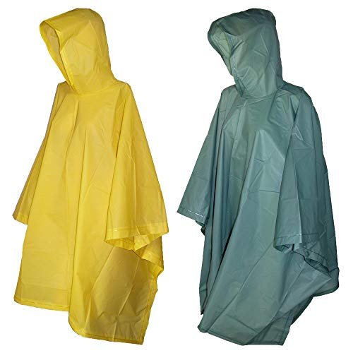 Totes Rain Poncho with Hood (Pack of 2), Green/Yellow