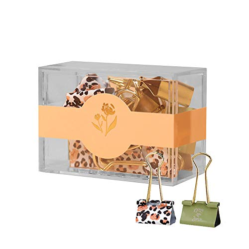 Buqoo Binder Clips 12 Packs Leopard Print 25mm Paper Clips for Office Supplies Papers and Tickets Collection and More (25mm)